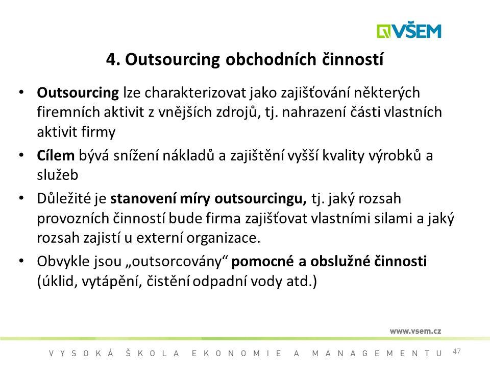 4. Outsourcing obchodních činností