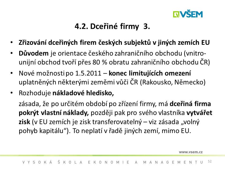 4.2. Dceřiné firmy 3. Zřizování dceřiných firem českých subjektů v jiných zemích EU.