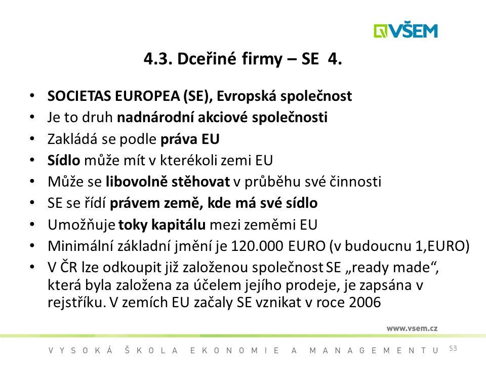 4.3. Dceřiné firmy – SE 4. SOCIETAS EUROPEA (SE), Evropská společnost