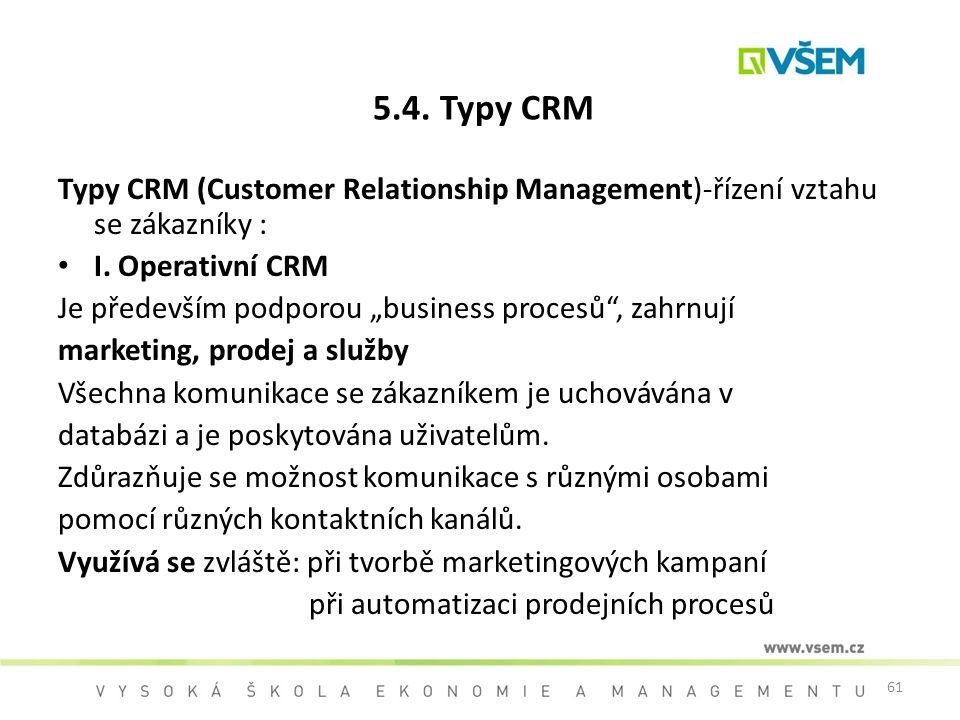 5.4. Typy CRM Typy CRM (Customer Relationship Management)-řízení vztahu se zákazníky : I. Operativní CRM.