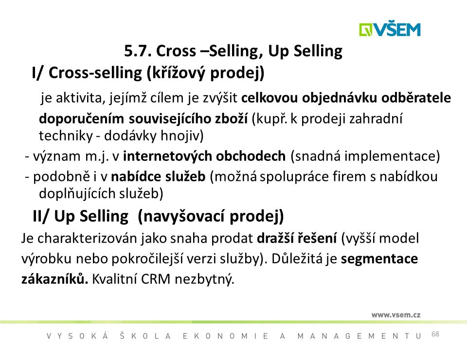 5.7. Cross –Selling, Up Selling