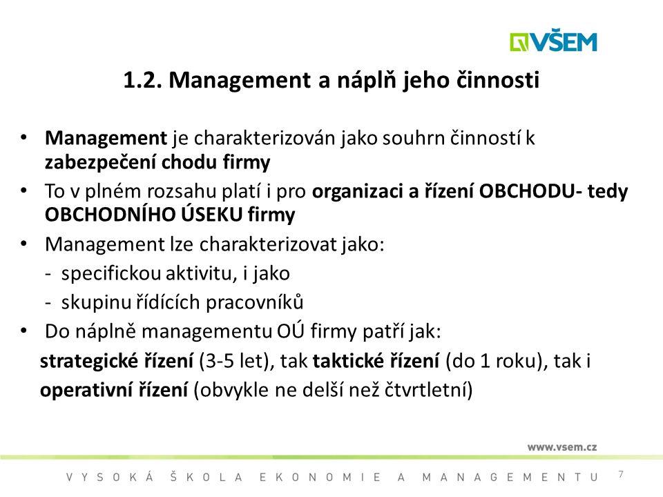 1.2. Management a náplň jeho činnosti