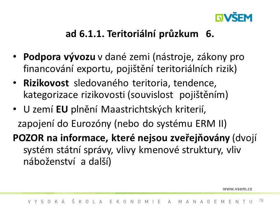 ad 6.1.1. Teritoriální průzkum 6.