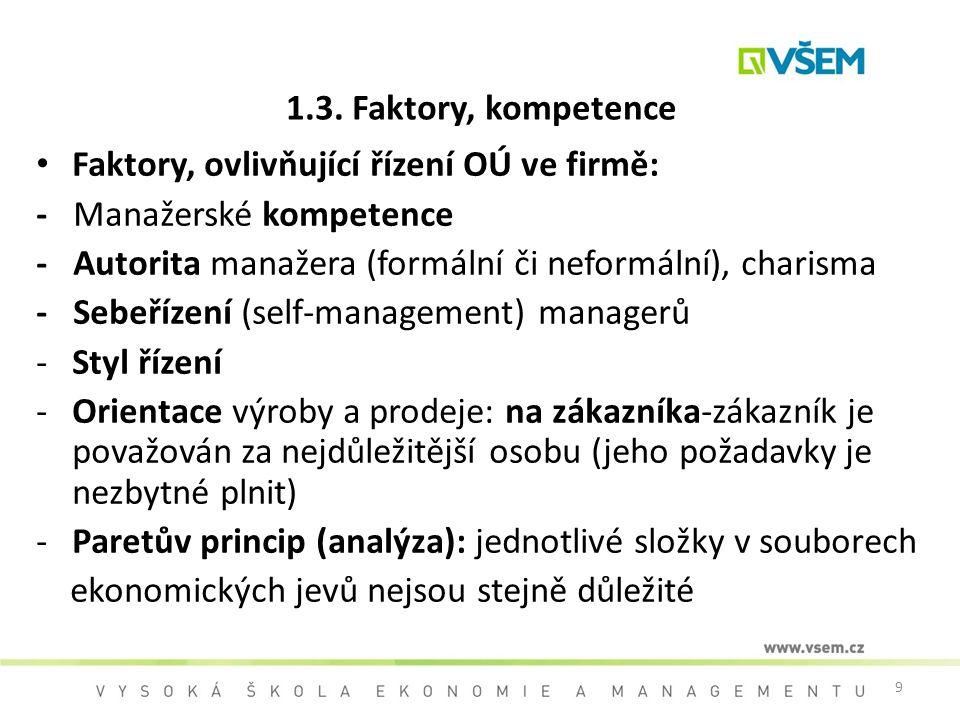 1.3. Faktory, kompetence Faktory, ovlivňující řízení OÚ ve firmě: - Manažerské kompetence.