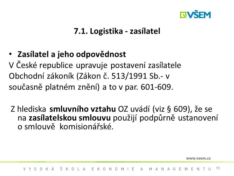 7.1. Logistika - zasílatel Zasílatel a jeho odpovědnost. V České republice upravuje postavení zasílatele.