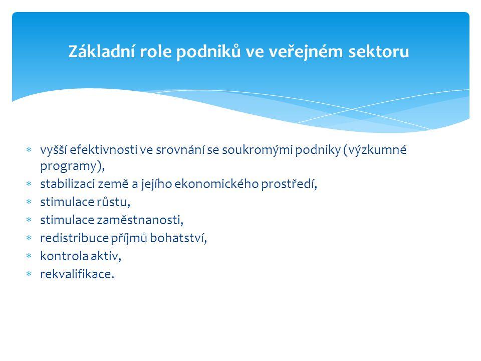 Základní role podniků ve veřejném sektoru