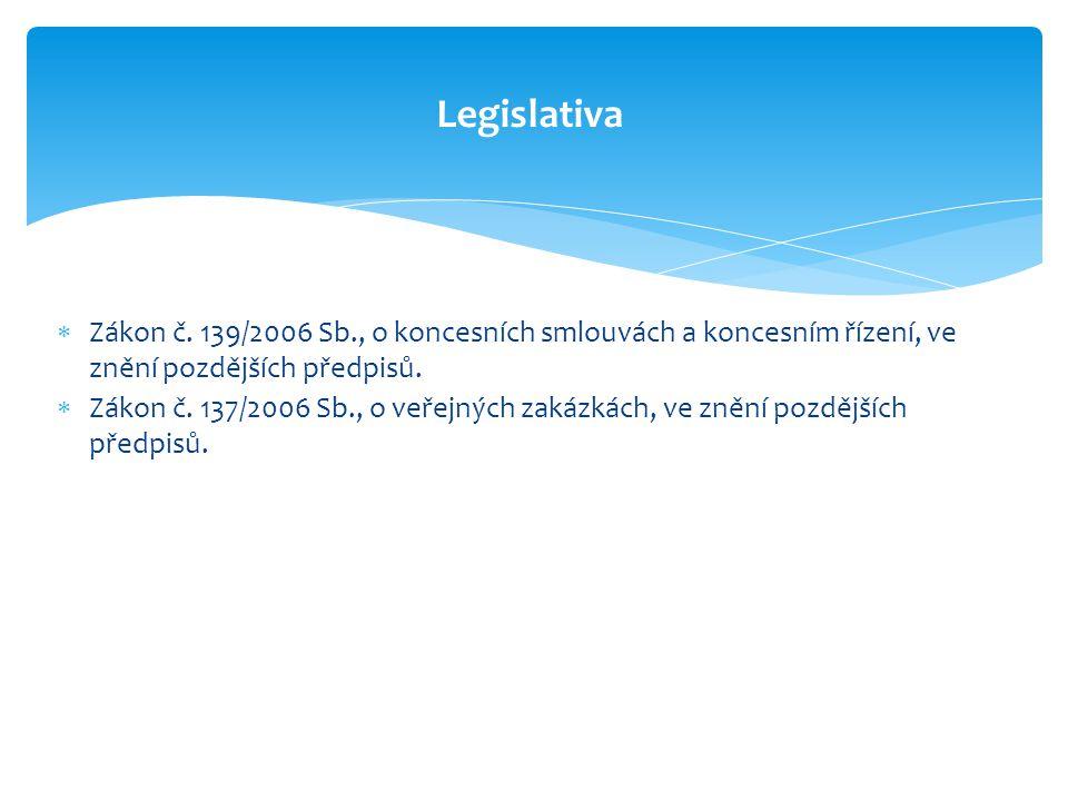 Legislativa Zákon č. 139/2006 Sb., o koncesních smlouvách a koncesním řízení, ve znění pozdějších předpisů.