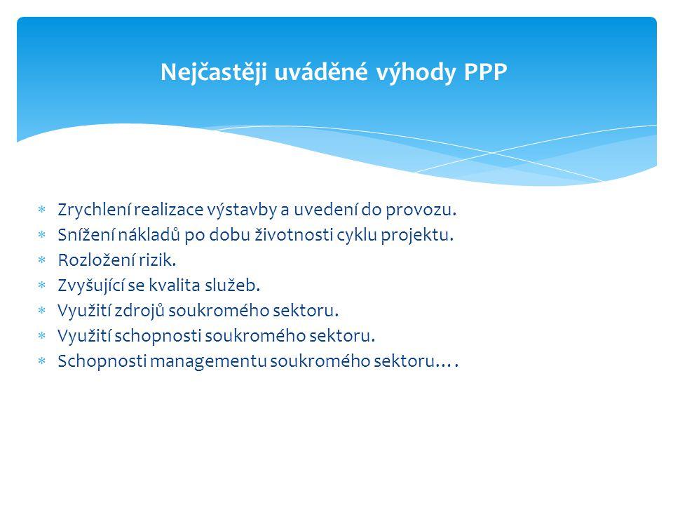 Nejčastěji uváděné výhody PPP