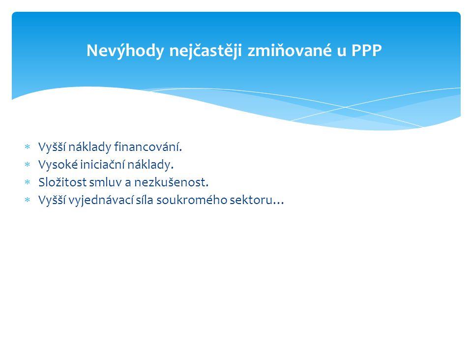 Nevýhody nejčastěji zmiňované u PPP