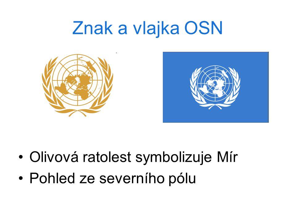 Znak a vlajka OSN Olivová ratolest symbolizuje Mír