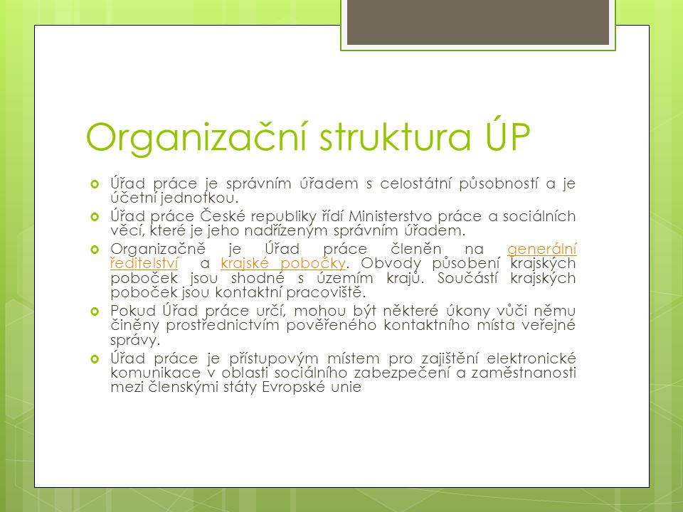 Organizační struktura ÚP