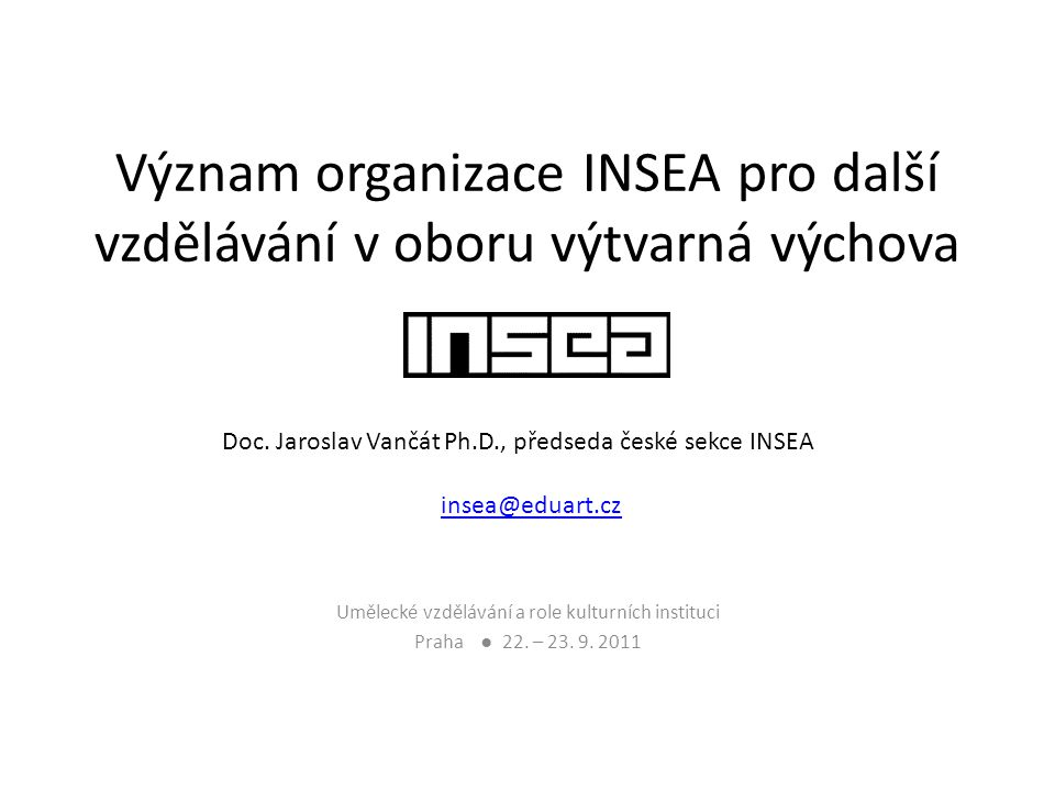 Význam organizace INSEA pro další vzdělávání v oboru výtvarná výchova