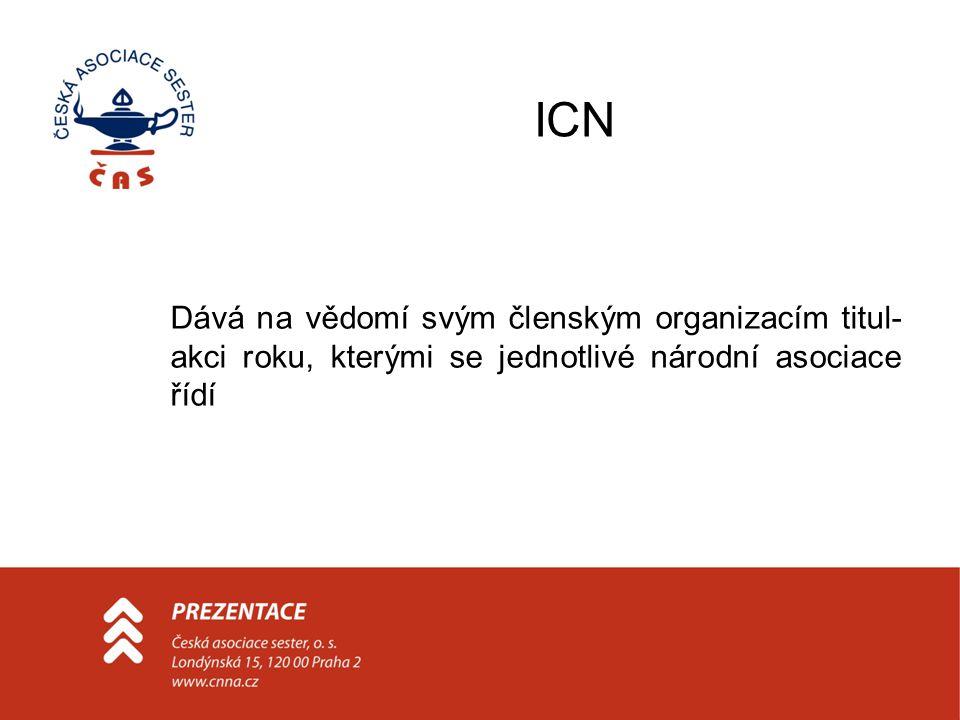 ICN Dává na vědomí svým členským organizacím titul-akci roku, kterými se jednotlivé národní asociace řídí.
