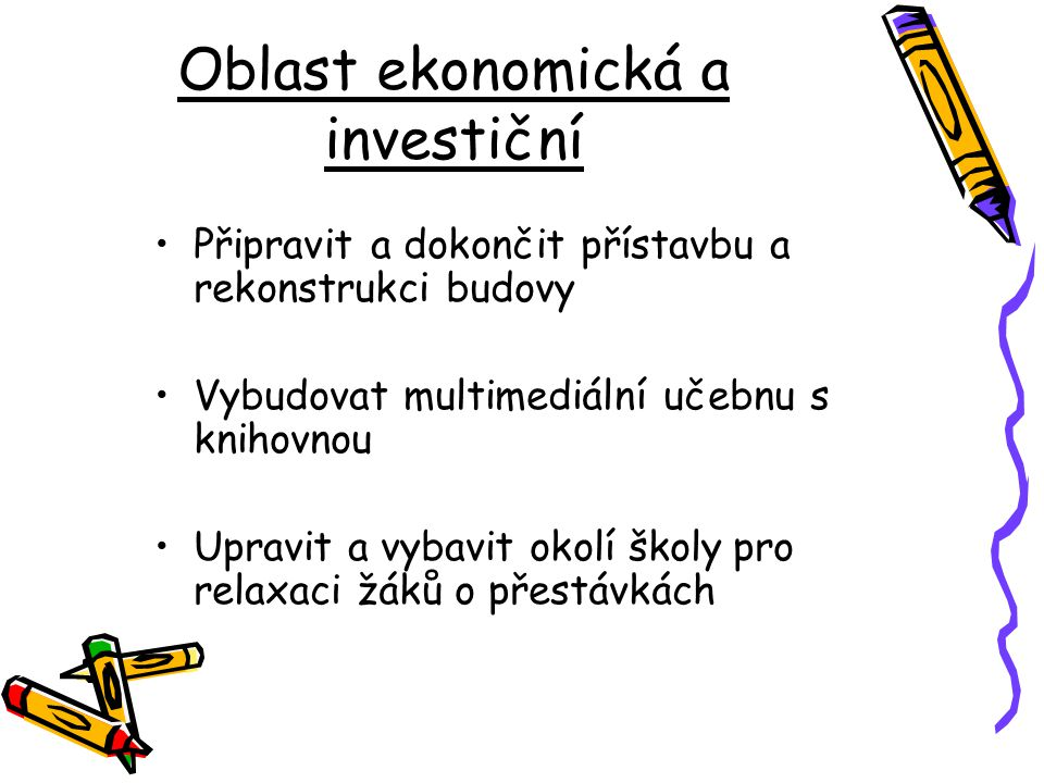 Oblast ekonomická a investiční