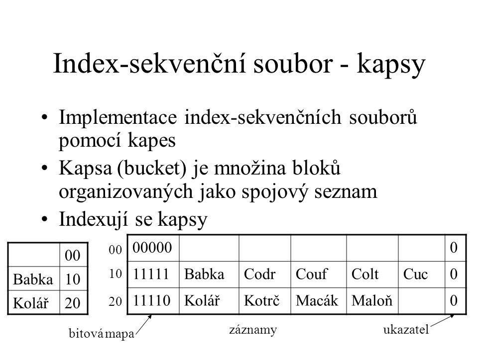 Index-sekvenční soubor - kapsy