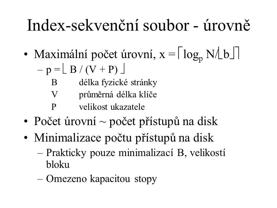 Index-sekvenční soubor - úrovně