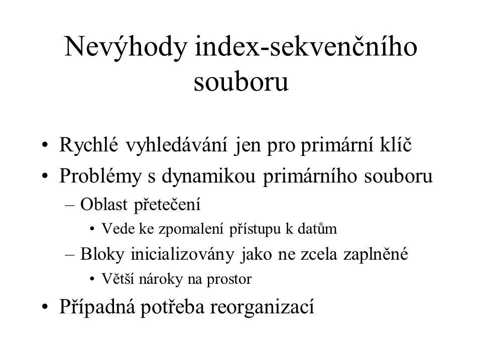 Nevýhody index-sekvenčního souboru