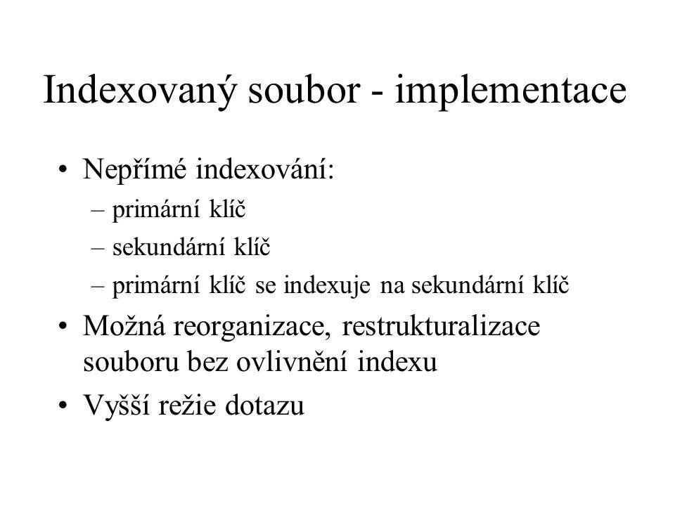 Indexovaný soubor - implementace