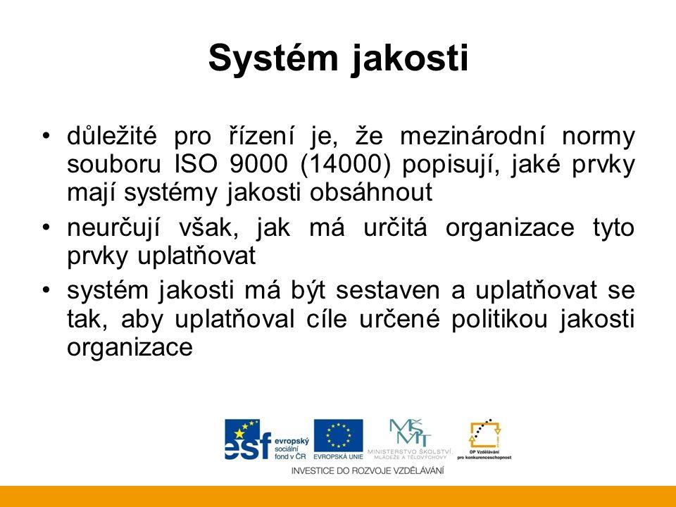 Systém jakosti důležité pro řízení je, že mezinárodní normy souboru ISO 9000 (14000) popisují, jaké prvky mají systémy jakosti obsáhnout.