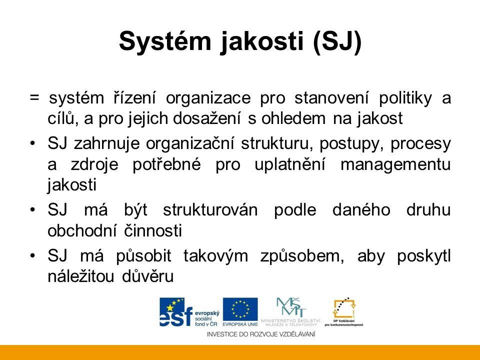Systém jakosti (SJ) = systém řízení organizace pro stanovení politiky a cílů, a pro jejich dosažení s ohledem na jakost.