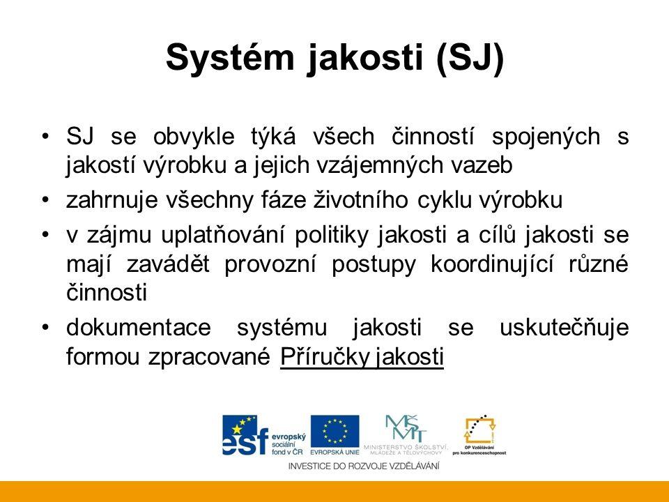 Systém jakosti (SJ) SJ se obvykle týká všech činností spojených s jakostí výrobku a jejich vzájemných vazeb.