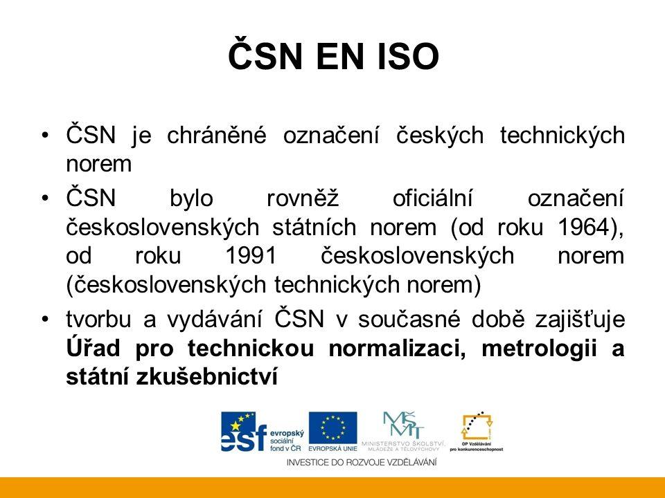 ČSN EN ISO ČSN je chráněné označení českých technických norem