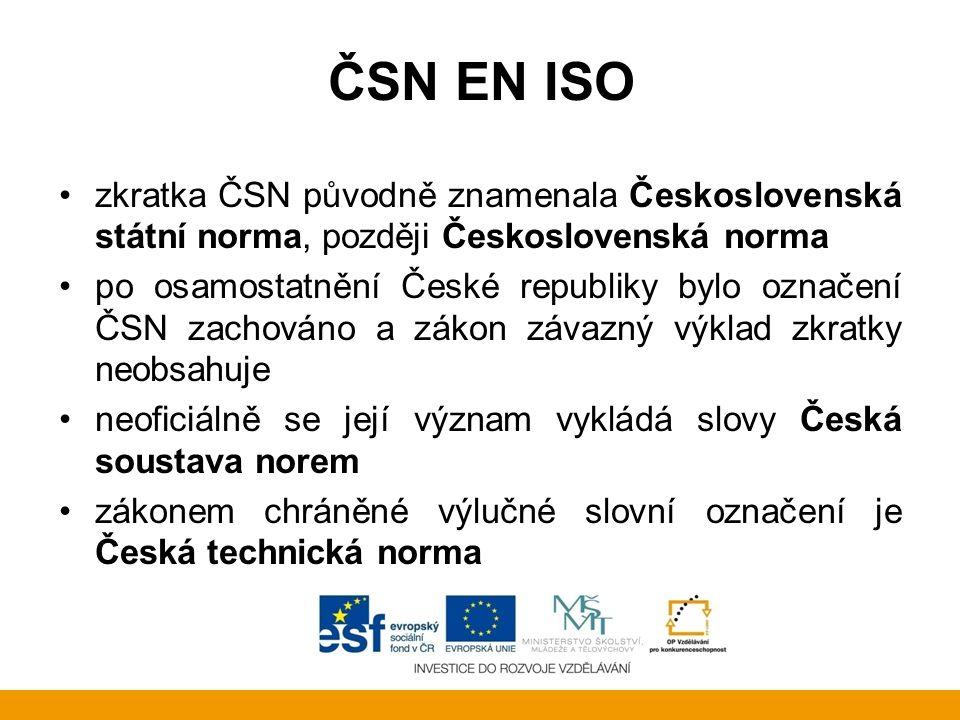 ČSN EN ISO zkratka ČSN původně znamenala Československá státní norma, později Československá norma.