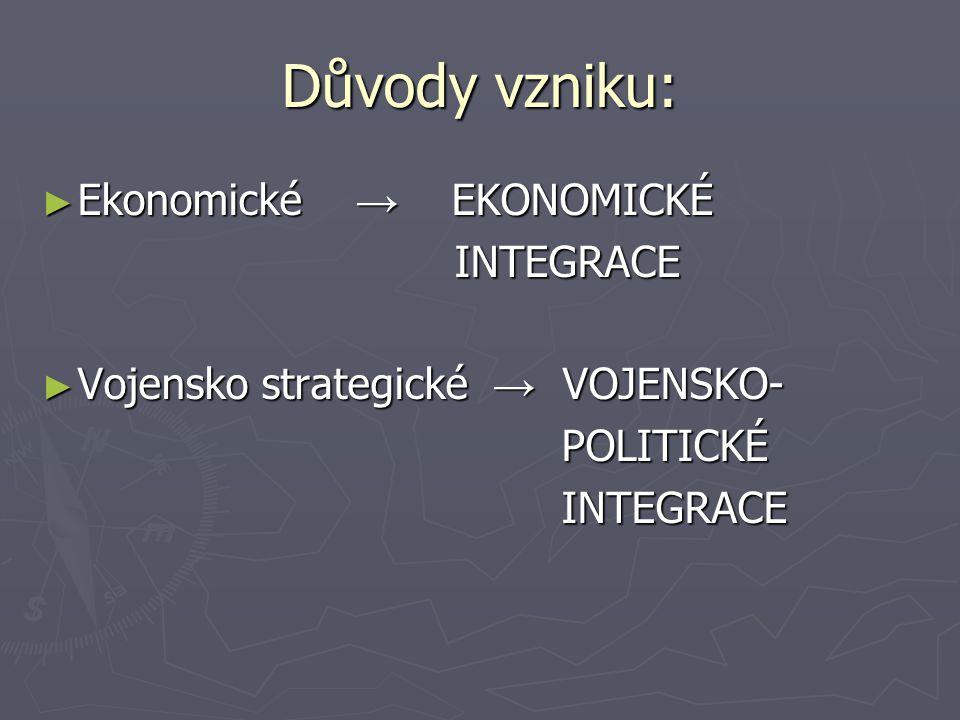 Důvody vzniku: Ekonomické → EKONOMICKÉ INTEGRACE