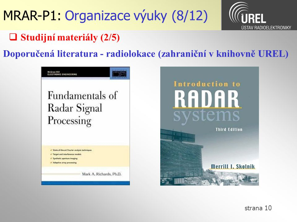 MRAR-P1: Organizace výuky (8/12)