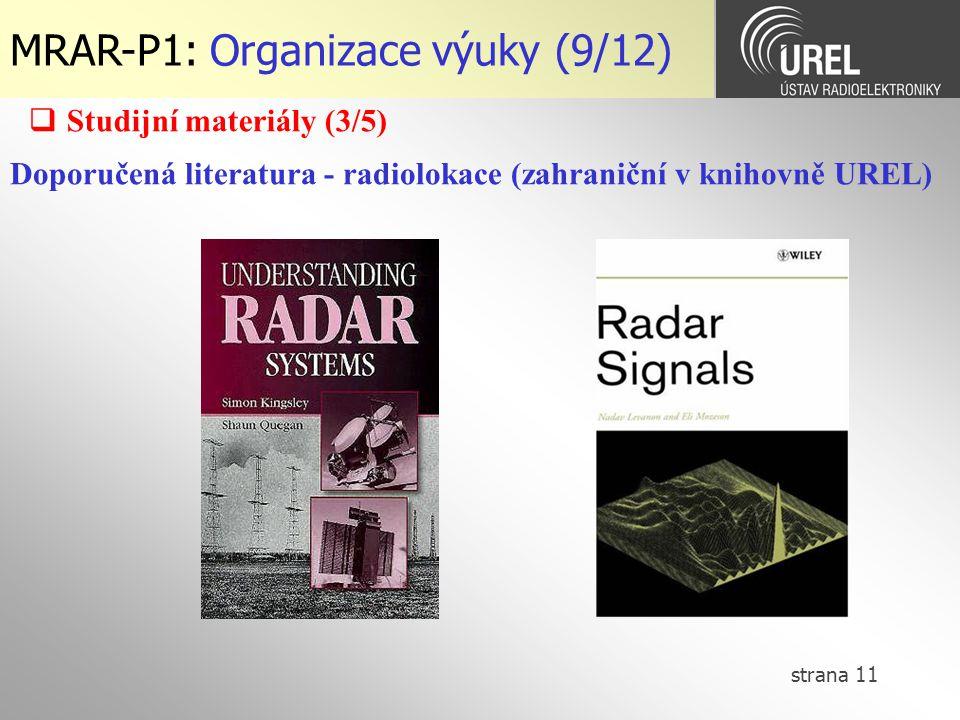 MRAR-P1: Organizace výuky (9/12)