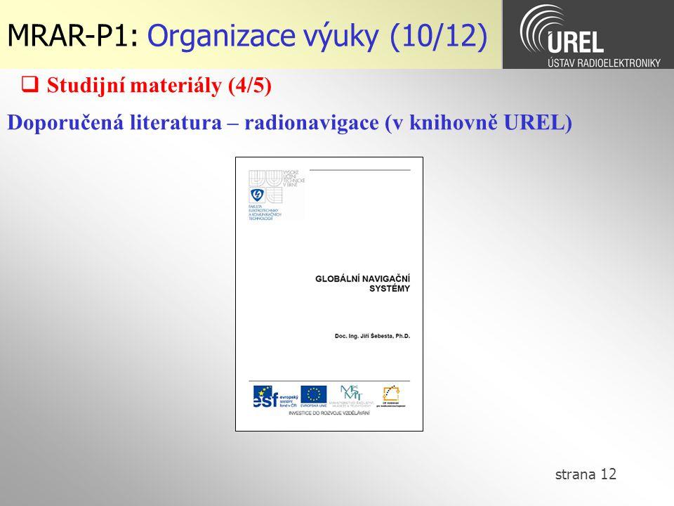 MRAR-P1: Organizace výuky (10/12)