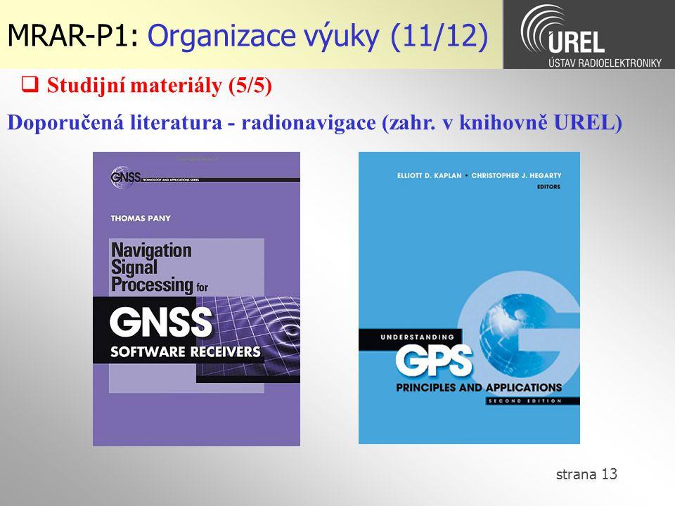 MRAR-P1: Organizace výuky (11/12)