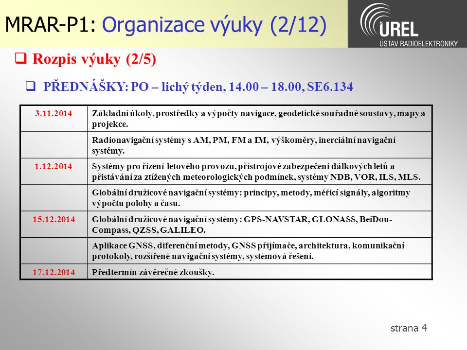 MRAR-P1: Organizace výuky (2/12)