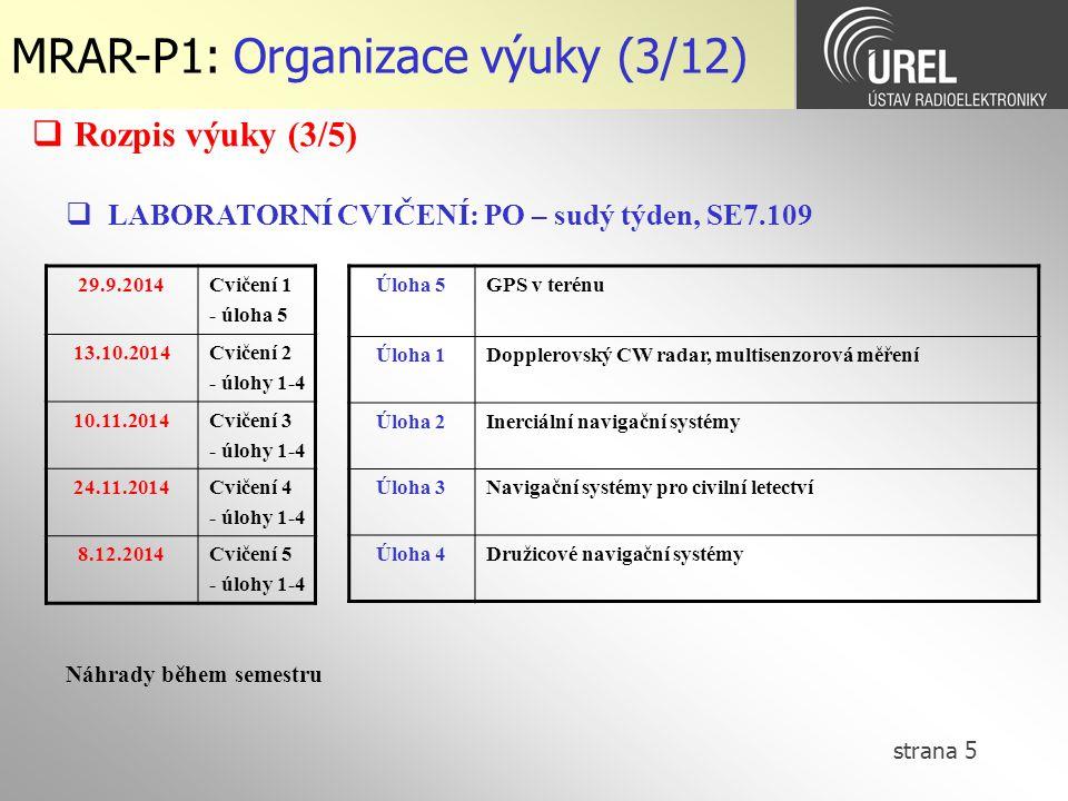 MRAR-P1: Organizace výuky (3/12)