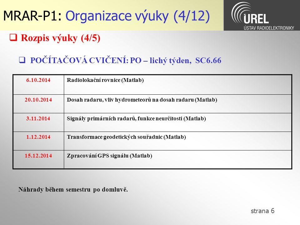 MRAR-P1: Organizace výuky (4/12)