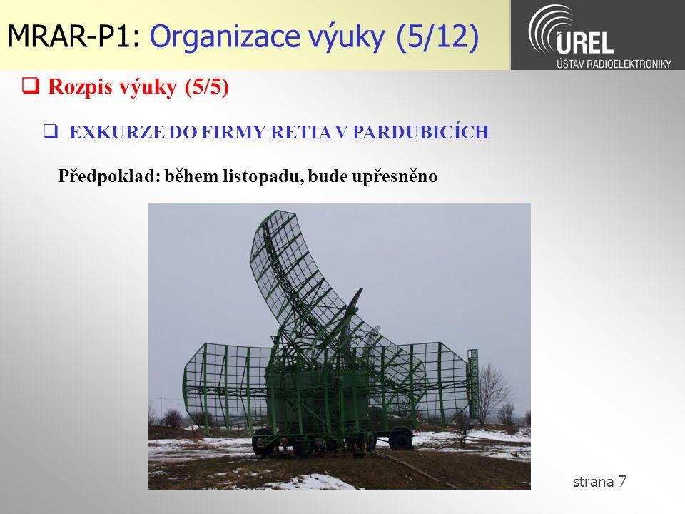 MRAR-P1: Organizace výuky (5/12)