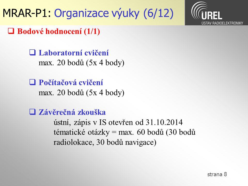 MRAR-P1: Organizace výuky (6/12)