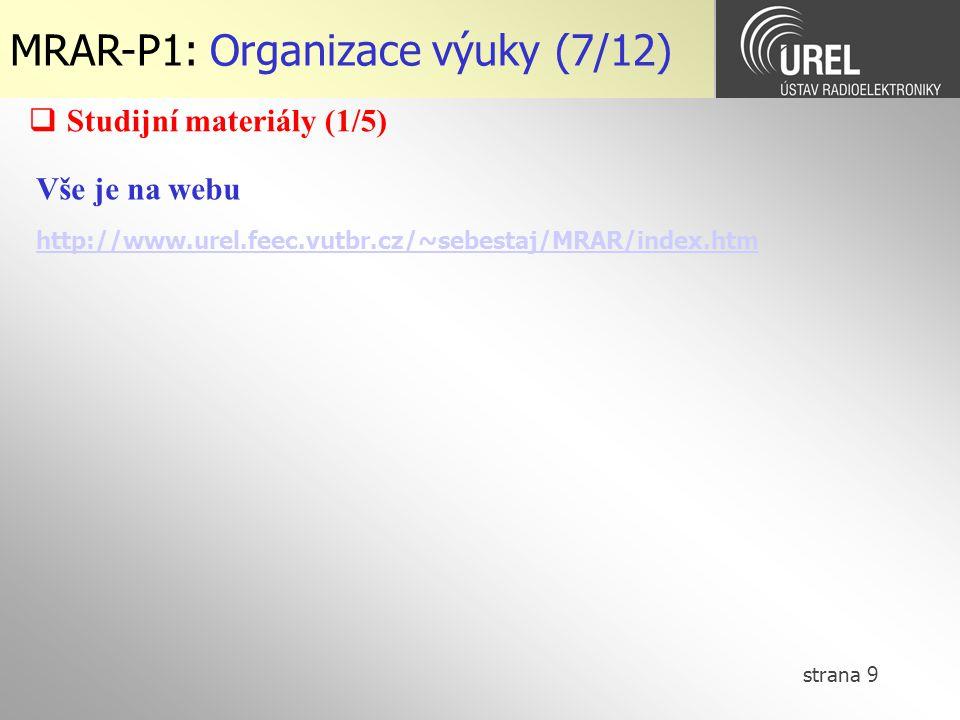 MRAR-P1: Organizace výuky (7/12)