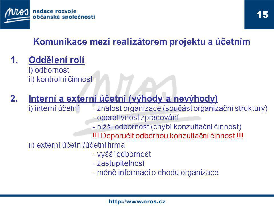 Komunikace mezi realizátorem projektu a účetním