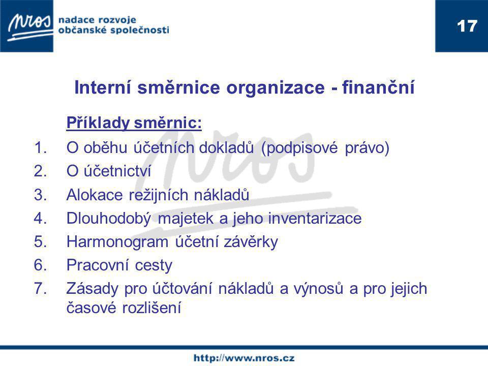 Interní směrnice organizace - finanční