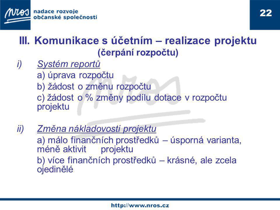 III. Komunikace s účetním – realizace projektu (čerpání rozpočtu)