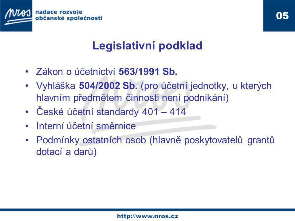 Legislativní podklad 05. Zákon o účetnictví 563/1991 Sb.