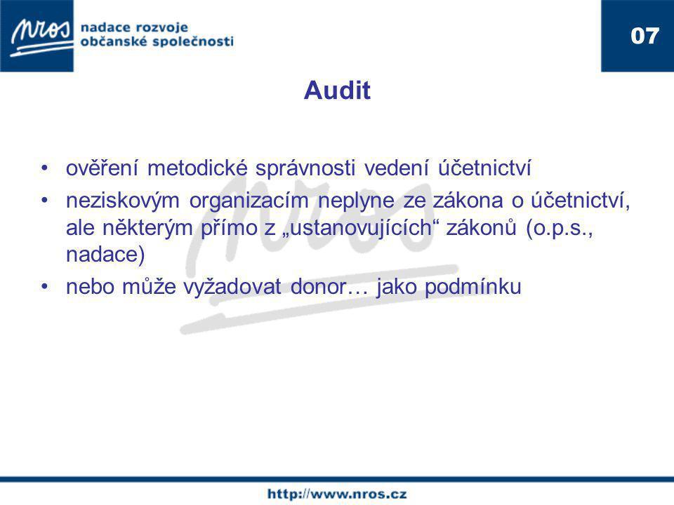 Audit 07. ověření metodické správnosti vedení účetnictví.