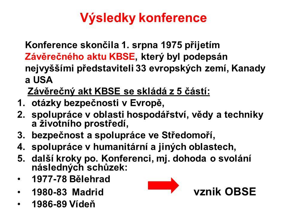 Výsledky konference Konference skončila 1. srpna 1975 přijetím