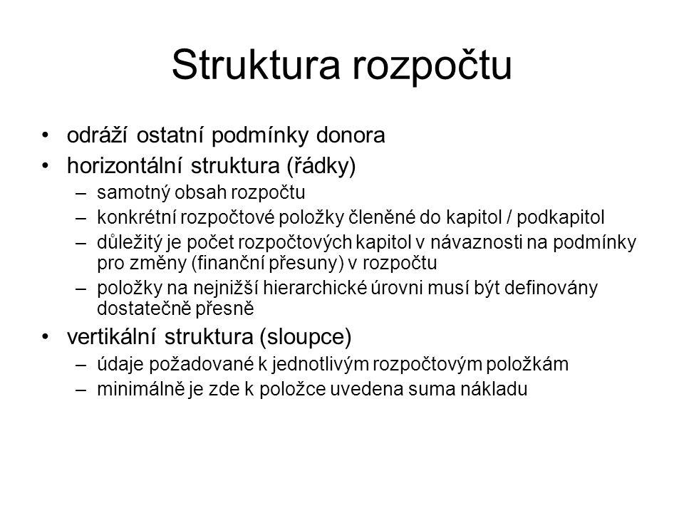 Struktura rozpočtu odráží ostatní podmínky donora