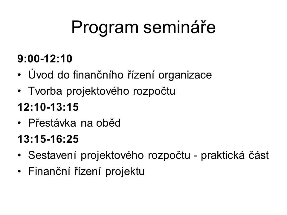Program semináře 9:00-12:10 Úvod do finančního řízení organizace