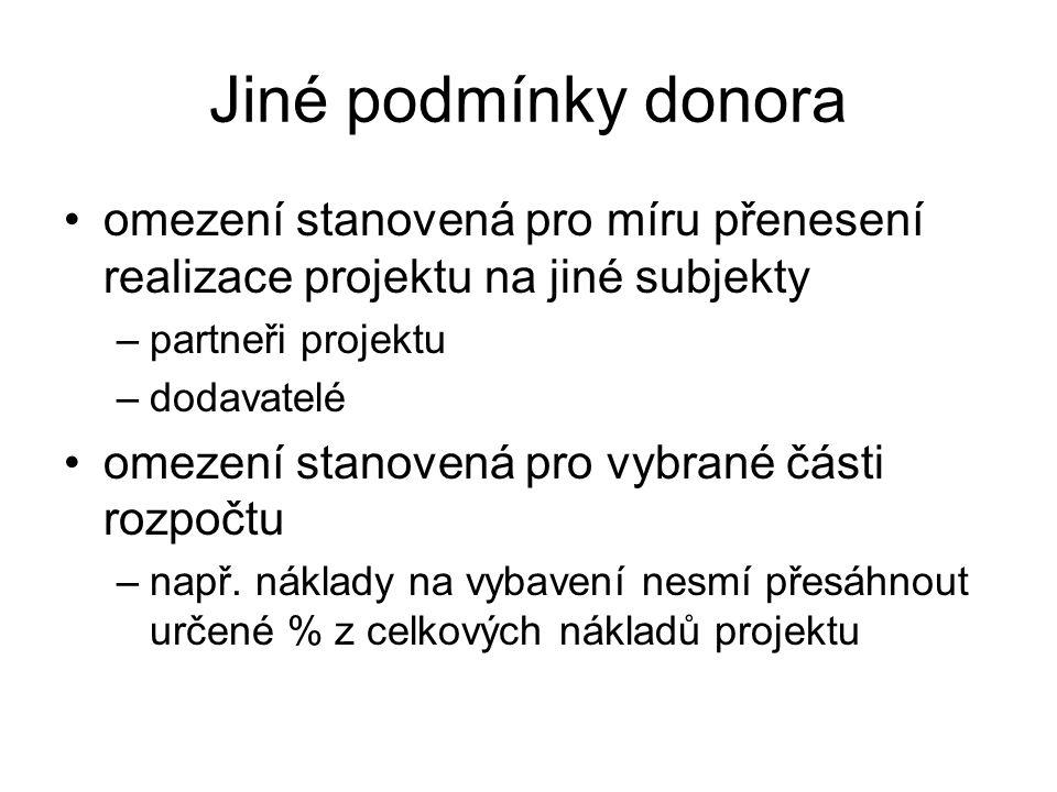 Jiné podmínky donora omezení stanovená pro míru přenesení realizace projektu na jiné subjekty. partneři projektu.