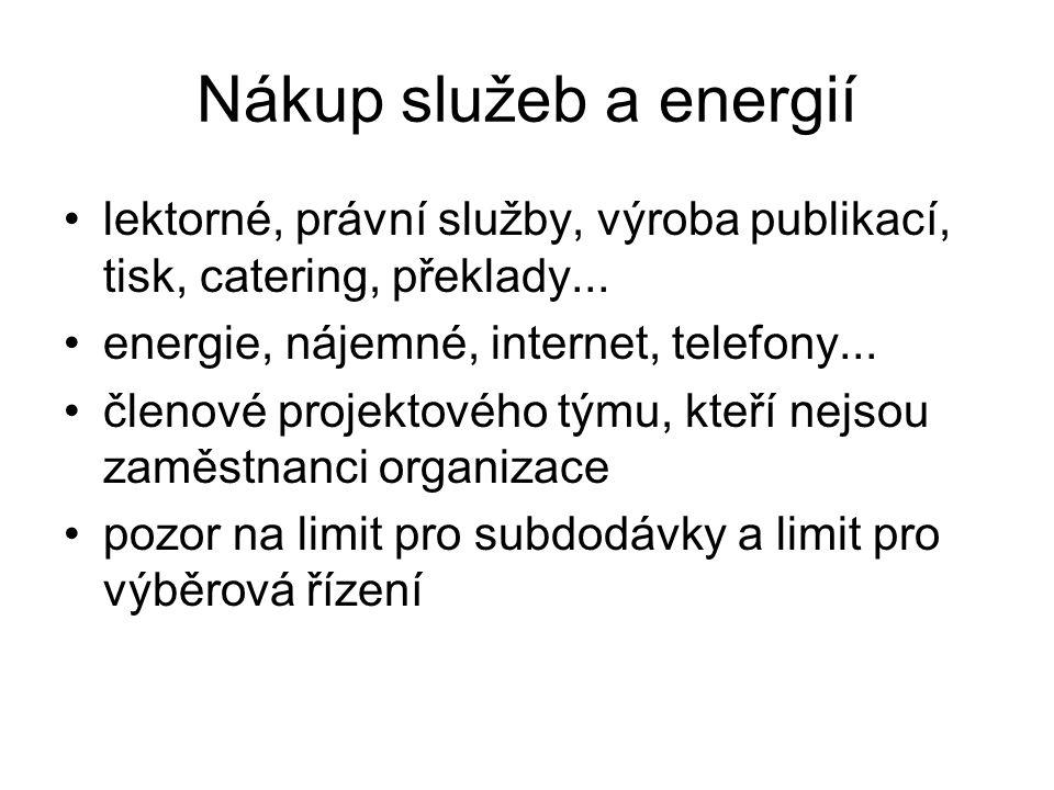 Nákup služeb a energií lektorné, právní služby, výroba publikací, tisk, catering, překlady... energie, nájemné, internet, telefony...
