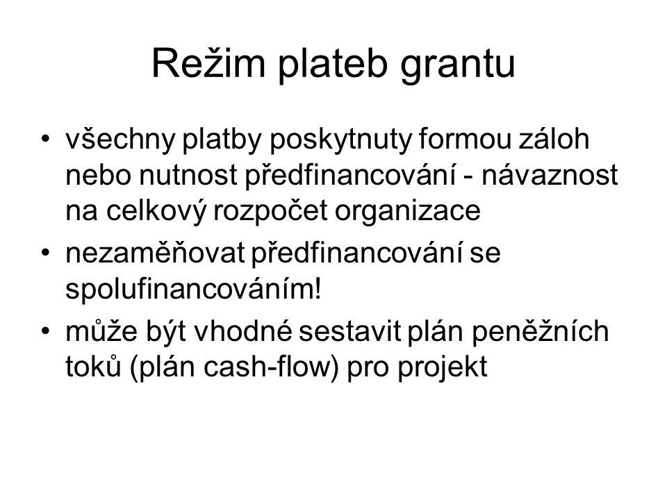 Režim plateb grantu všechny platby poskytnuty formou záloh nebo nutnost předfinancování - návaznost na celkový rozpočet organizace.