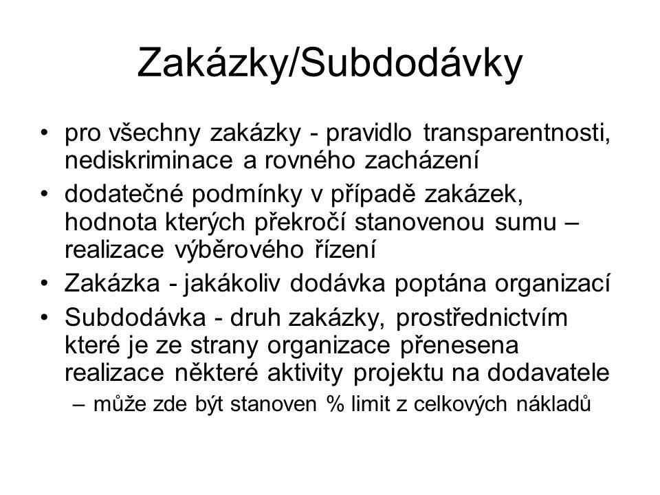 Zakázky/Subdodávky pro všechny zakázky - pravidlo transparentnosti, nediskriminace a rovného zacházení.